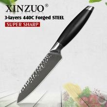 XINZUO 5 inç maket bıçağı 3 kat 440C paslanmaz çelik mutfak bıçağı G10 kolu Samura meyve soyma bıçağı