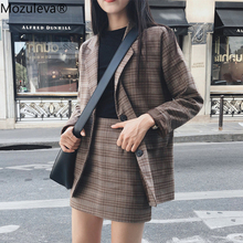 Skirt Suit Jacket Plaid Office Mozuleva Female Retro Ladies Single-Breasted 2pieces