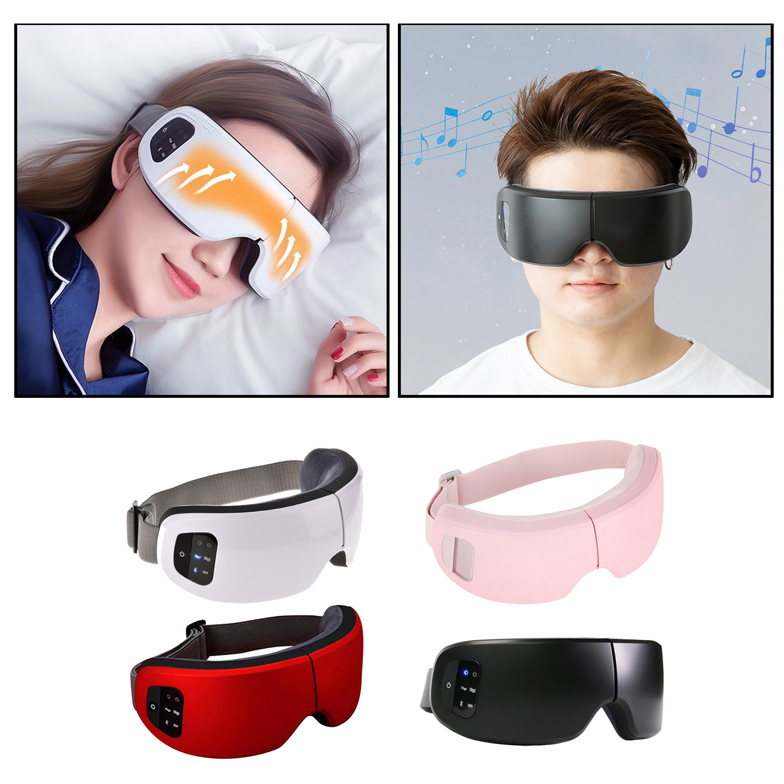 Rechargeable USB Heating Wireless Electric Eye Massager Mask Bluetooth Music