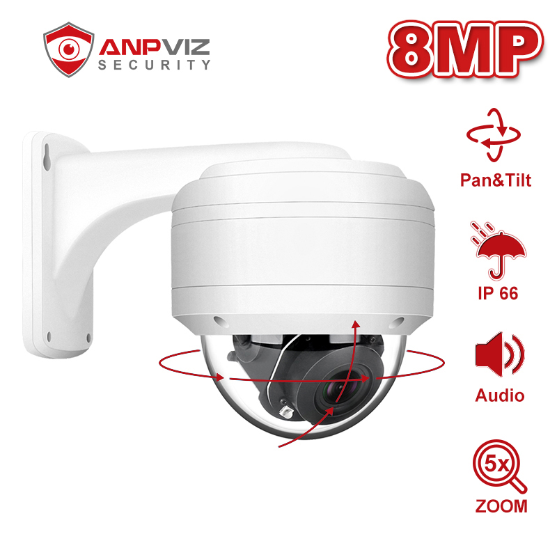 Anpviz 8mp dome poe câmera ip 5x zoom óptico 2.7-13.5mm com áudio casa/exterior ip66 à prova de intempéries ir 35m onvif h.265 p2p