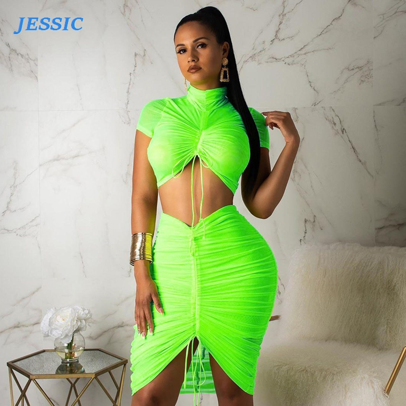 JESSIC Turtle Neck Neon Pleated Crop Top Skirt Sets Women Party Casual 2 Piece Set Short Sleeve Tee & Tube Skirt Matching Female
