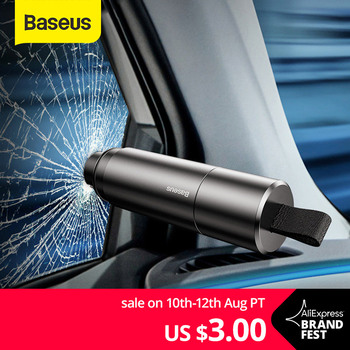 Baseus Mini Car Window Glass Breaker Seat Belt Cutter Safety Hammer Life-Saving Escape Hammer Cutting Knife Interior Accessories 1