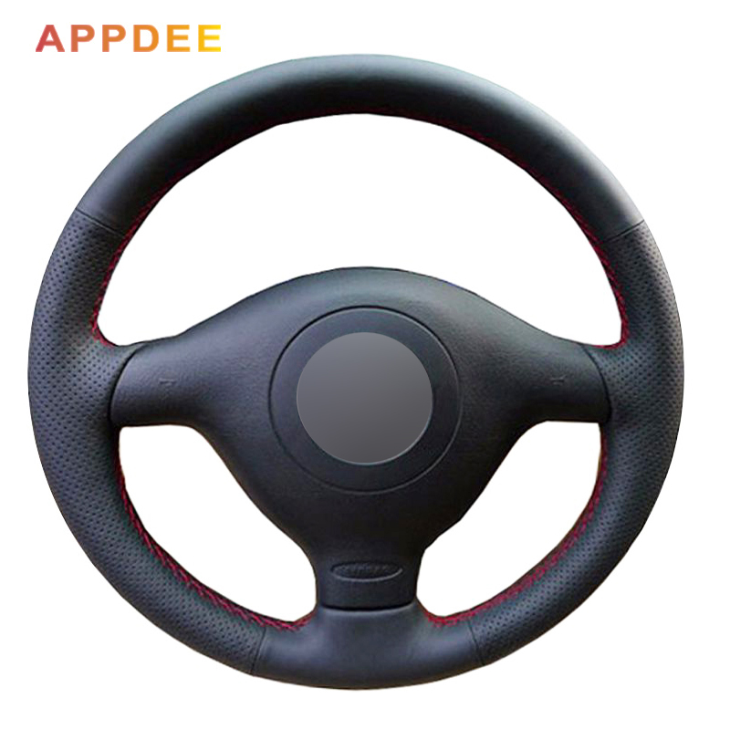 Steering-Wheel-Cover Polo Passat B5 Black Golf Volkswagen for VW 4 1996-2003 Seat Leon title=