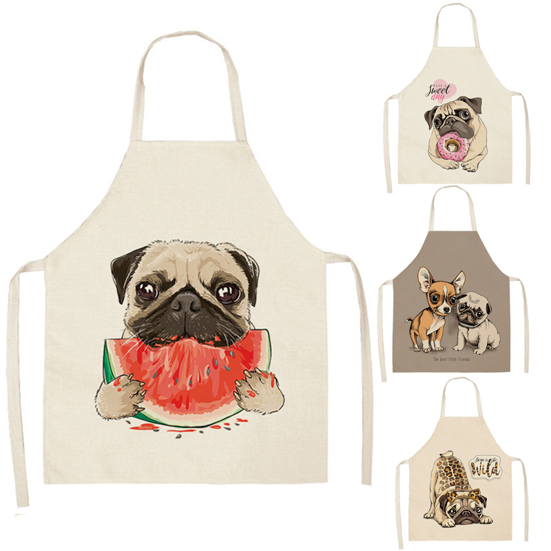 Cartoon Dog Printed Kitchen Aprons Cotton Linen Home Cooking Baking Coffee Shop Cleaning Accessory
