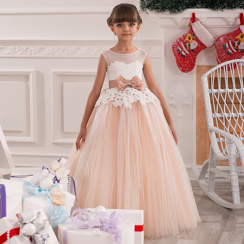 New Arrival Flower Girls Dresses High Quality Lace Appliques Beading Short Sleeve Ball Gowns Custom Holy First Communion