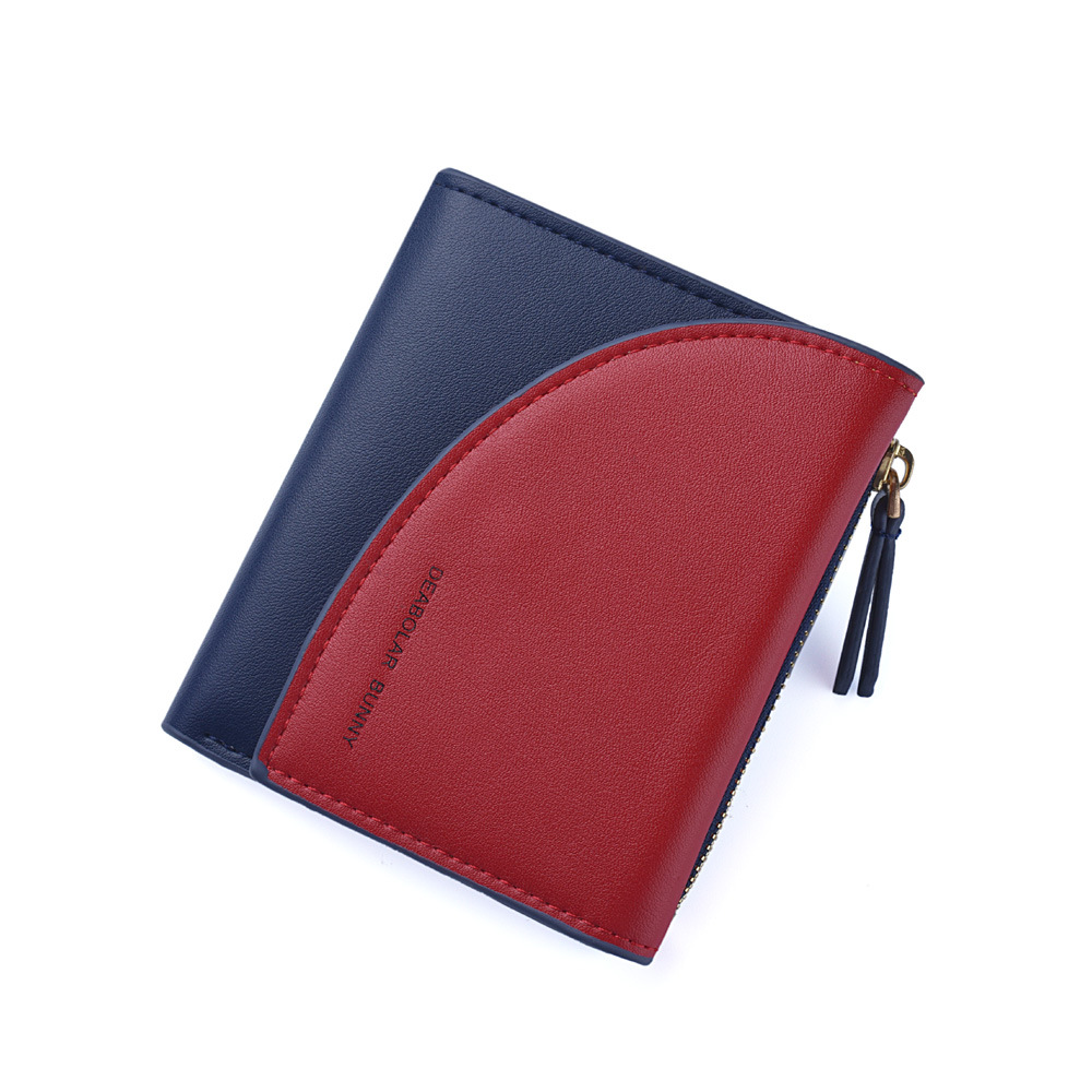 Women Short Leather Wallet Panelled Letters Small Zipper Purse Patchwork Soft Wallets Cute Simple Card Holder Red Pink Money Bag