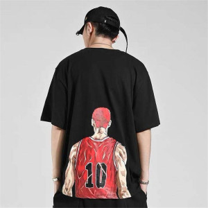 Cotton summer lamdunk T shirt Men Slam Dunk Rukawa maple cartoon clothing Short T-shirt surrounding clothes Tshirt Streetwear(China)