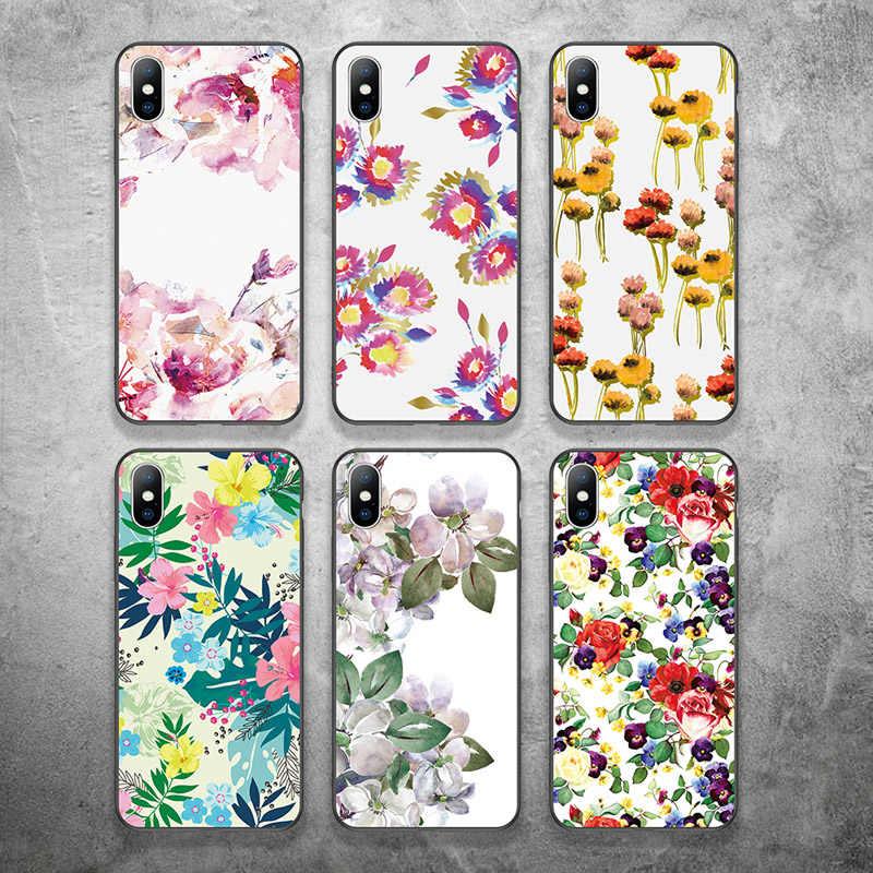 USLION لينة سيليكون روز زهرة الهاتف حقيبة لهاتف أي فون X XR Xs ماكس الأزياء الأزهار غطاء من البولي يوريثان الحراري ل فون 6 6s 7 8 زائد 5 5s SE