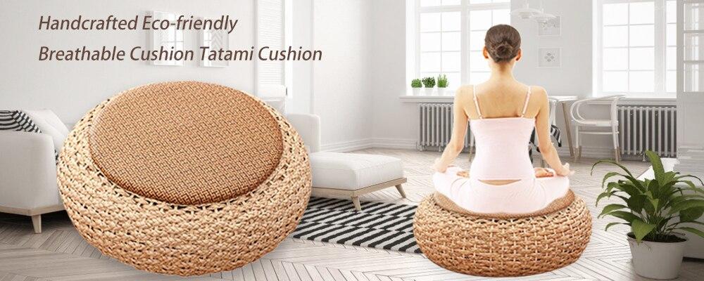 H4b26be7bf62748819eed609f773d2a64K Tatami Futon Meditation Cushion Thickening Yoga Circle Corn Husk Straw Braid Mat Japanese Style Cushion with Silk Wadding