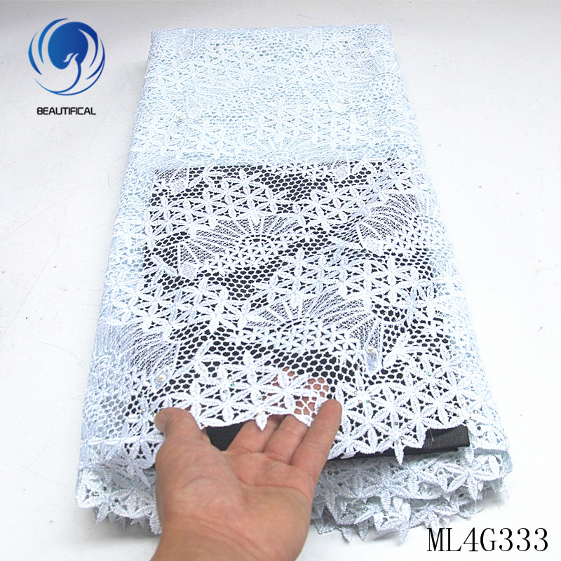 BEAUTIFICAL nigerian lace fabrics white guipure lace fabric with beads and stones Fashion embroidery cord lace fabric ML4G333