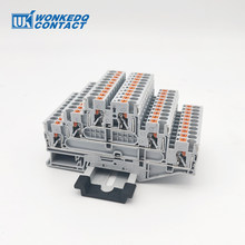 Din Rail Terminal Block PT2.5-3L Electrical Wiring Connector Triple Layer Spring Connection Conductor 10pcs Terminal Strip Block