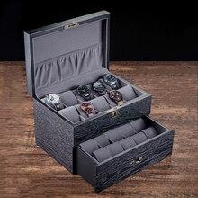 MEI Wooden Watch Display Boxes Case Black Mechanical Watch Storage Box New Women Jewelry Box Holder