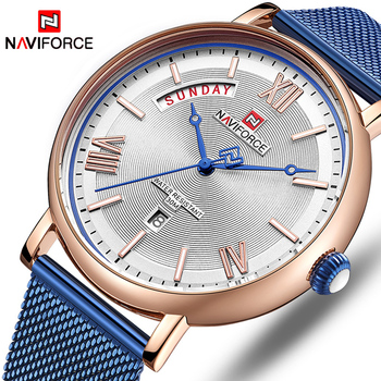 NAVIFORCE 3006 Luxury Watches for Men Stainless Steel Mesh Waterproof watch with box