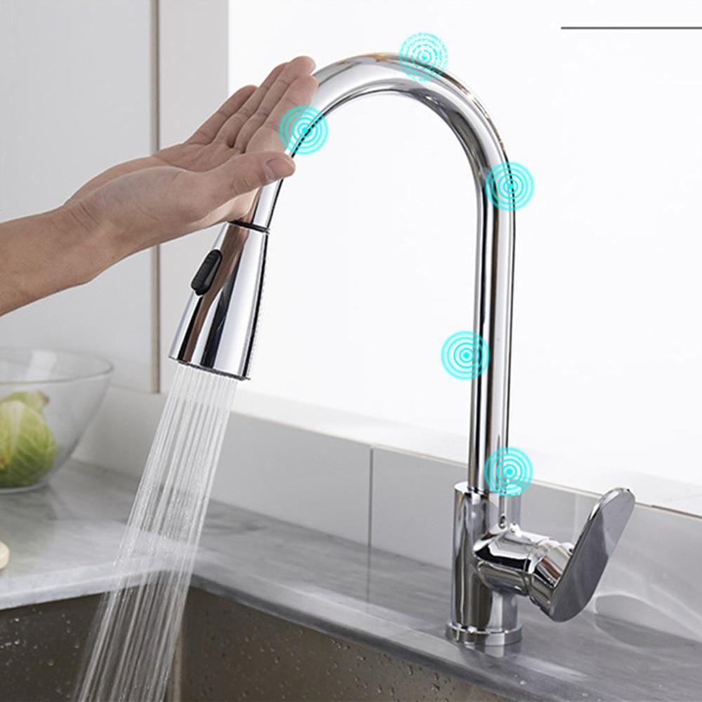 Смесители с умным сенсорным датчиком для кухонной раковины, хромированный латунный вытяжной кран для горячей и холодной воды, 2 режима, расп...
