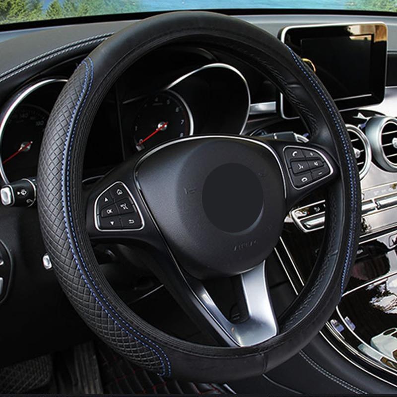 Image 3 - 新しい車のステアリングホイールカバー人工皮革弾性スリップ防止機能付き自動ステアリング輪エンボス革車のスタイリング -    グループ上の 自動車
