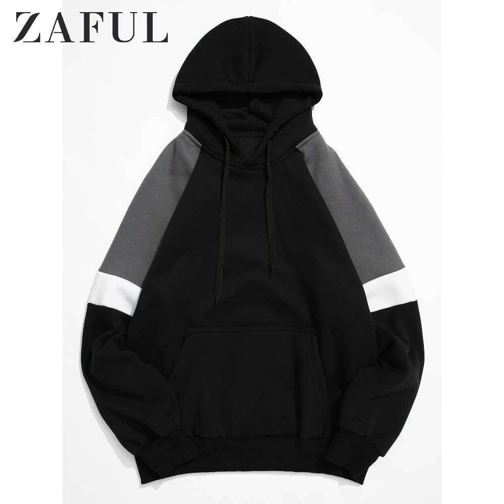 ZAFUL, мужская толстовка с цветными блоками, с рукавом реглан, на шнурке, с капюшоном, контрастный цвет, с карманом кенгуру, толстовка с капюшон