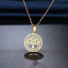 Ожерелье CACANA N2118 из нержавеющей стали 316L с изображением деревьев удачи, новые ожерелья с кристаллами для женщин, подарки на свадьбу, День свя...