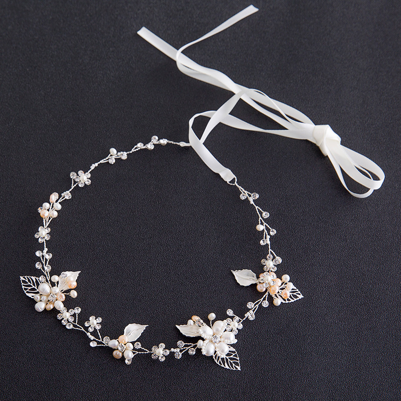 Korean Version Of The Bride Handmade Imitation Pearl Crystal Hair Band Fashion Leaf Shape Bridal Tiara Headband