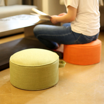 28x20cm Portable Washable Round Stool Linen EPE High Elasticity Sponge Japanese Futon Tatami Cushions Solid Color Coffee White