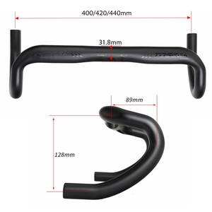 Image 5 - TOSEEK mat siyah tam UD karbon Fiber bisiklet yol gidon bisiklet bükülmüş Bar gidon 31.8*400/420/440mm