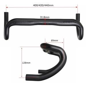 Image 5 - TOSEEK מט שחור מלא א. ד. סיבי פחמן אופניים כביש כידון אופני מכופף בר כידון 31.8*400/420/440mm