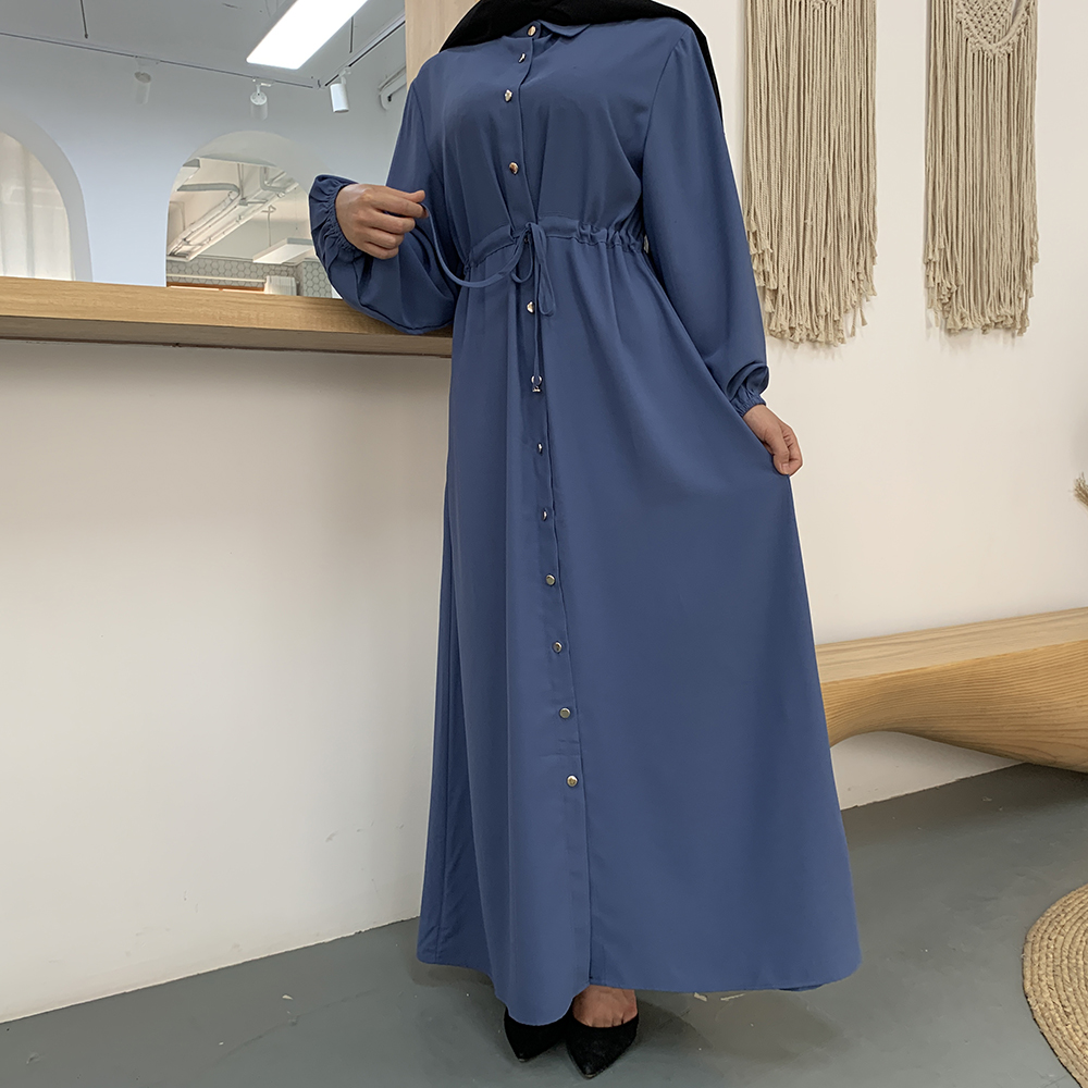 Casual Long Button-Down Cotton Dress