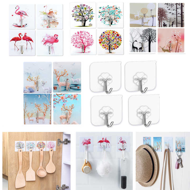 4 Pcs/set Hook Strong Paste Storage Rack Hanger Storage Kitchen Accessories Seamless Waterproof Wall Sticker Multi-function