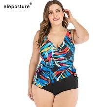 2020 프린트 플러스 사이즈 수영복 여성 레트로 원피스 수영복 여성 대형 수영복 여름 비치웨어 수영복 4XL