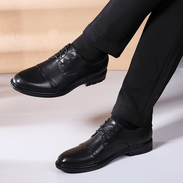 men dress shoes formal business male flats men's oxfords shoes size 38-46 lace up wedding genuine leather shoes Sapato Masculino