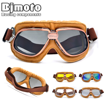 Vintage Motorcycle Motocross Goggles Pilot Motorbike MX flying Goggles leather Glasses atv Retro Helmet For Cycling Pit bike motorcycle atv riding scooter driving flying protective frame clear lens portable vintage helmet goggles glasses for 2009 buell xb12r