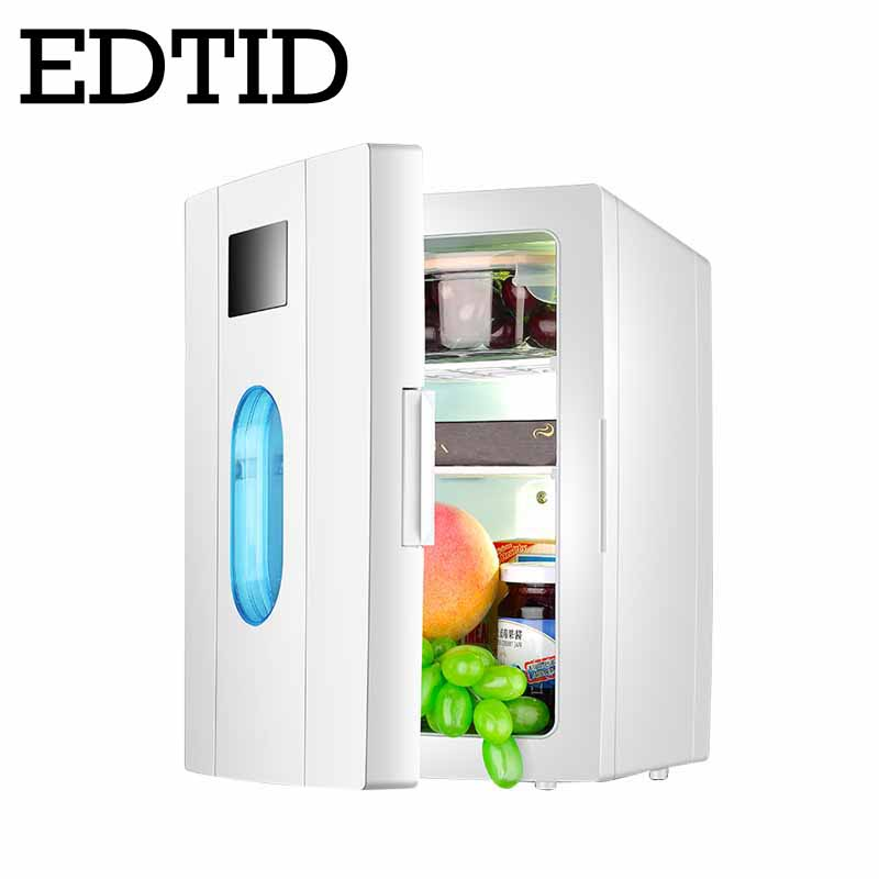 EDTID 10L Home & Car Mini Dual-Use Refrigerator Cooling Heating Box Freezer Dormitory Portable Fridge Low Noise Cans Beer Cooler