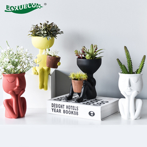 Maceta de Cactus de resina, maceta humanoide, retrato de jarrón, maceta de flores carnosas, arreglo de flores, jarrón para decoración del hogar, macetas de regalo de cumpleaños