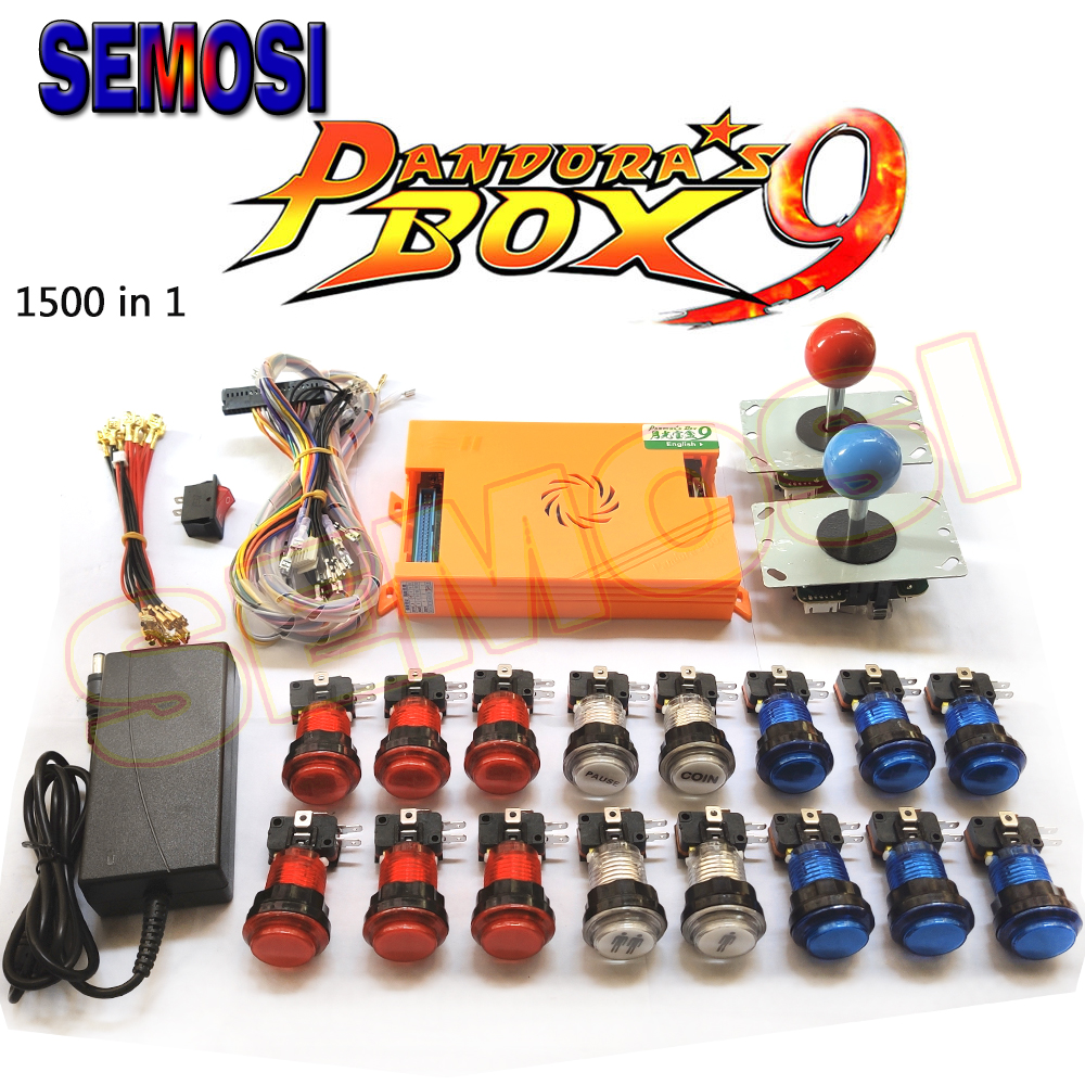 2500 In 1 Pandoras Box 9D Arcade Kit 1500 In 1 Pandoras Box 9 DIY Set with LED Arcade Button 5Pin Joystick for Game Console(China)