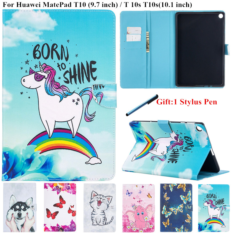 Для 2020 Huawei MatePad Mate Pad T10 T 10s T10s чехол для планшета милый Единорог Кот окрашенный чехол для Huawei MatePad T 10 10 |-f-| 1 дети