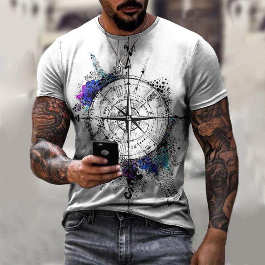 2021 New Compass T Shirt Men Bitcoin Funny T Shirts Black T-shirts 3d Mens Clothing Punk Rock Fashion Slim Tops Plus Size S-5XL 1