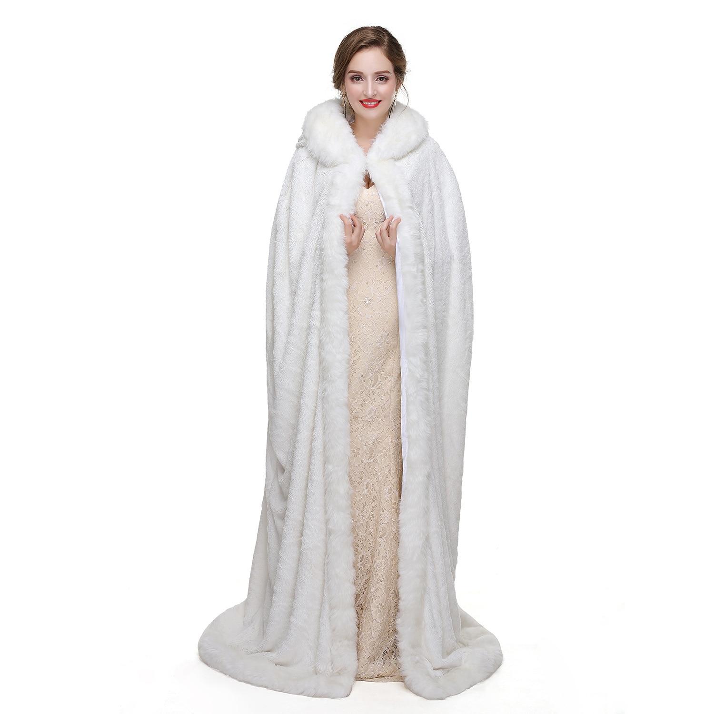 White Cloak Bolero Women Jackets Wedding Party Cape Shawl Wrap Accessories Bride Shrug Bridal Fur Shawl Long Cape Keep Warm Coat