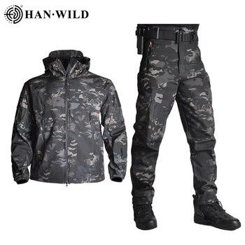 TAD-veste tactique pour homme, veste imperméable en coquille souple, costume tactique de Camouflage et peau de requin, manteaux militaires + pantalons 1