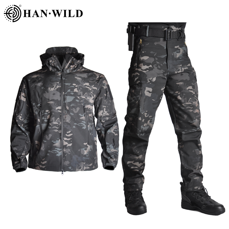 TAD Tactical Jacket Men Soft Shell Jacket Army Waterproof Camo HuntingClothes Suit Camouflage Shark Skin Military Coats+Pants
