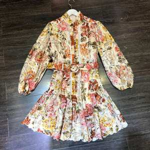 Embroidery Dresses Lantern Sleeve Runway Fashion Spring Top-Quality Hollow-Out Custom-Made