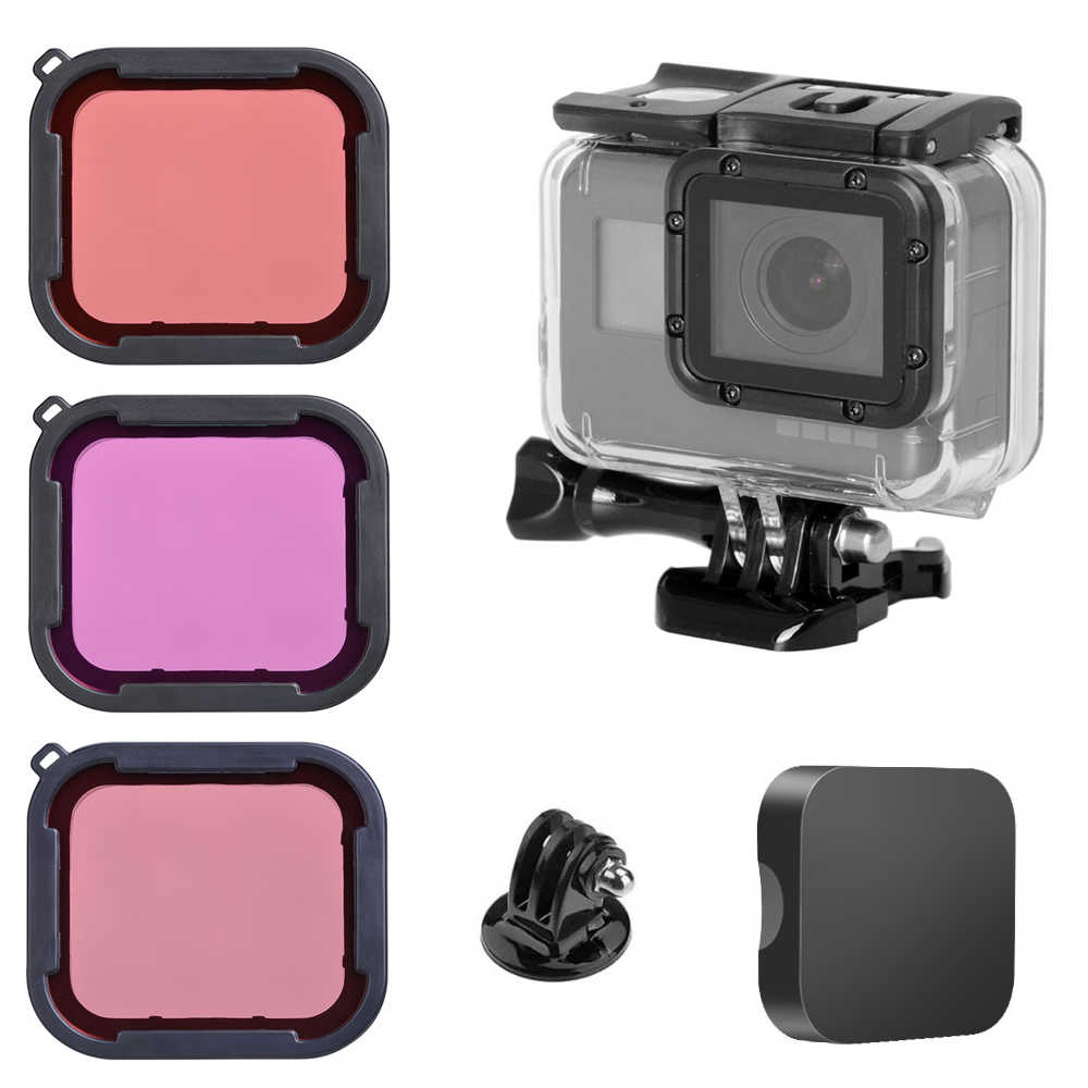 40M Underwater Menyelam Tahan Air Housing Case + Menyelam Warna Filter Lensa Kit Untuk GOPRO HERO 7 6 5 Hitam kamera Go Pro Go PRO Aksesoris