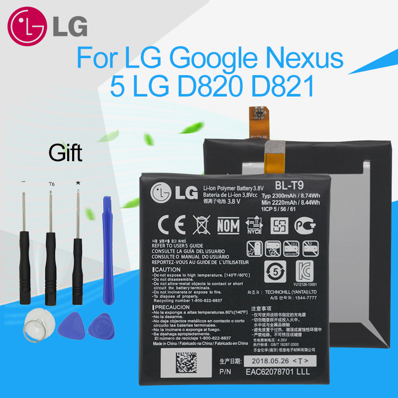 LG Original High Capacity Spare Phone <font><b>Battery</b></font> <font><b>BL</b></font>-<font><b>T9</b></font> for LG Google Nexus 5 <font><b>BL</b></font>-<font><b>T9</b></font> E980 Nexus G D820 D821 2300mAh with Tool Kits image