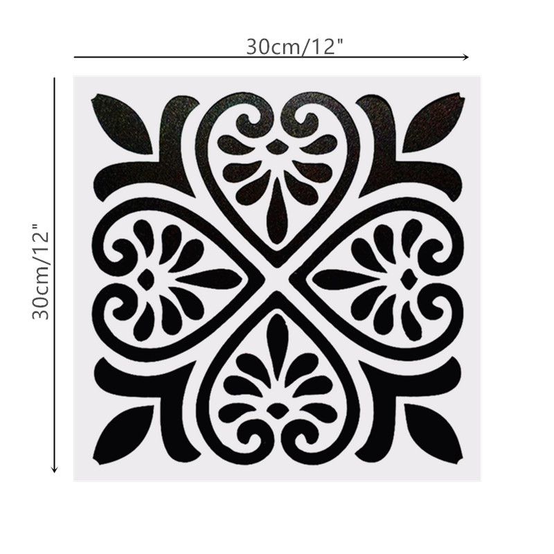 DIY Painting 30*30cm Vintage Flower Pattern Art Stencils Template For Tile Wall Floor Furniture Fabric Painting Decorative