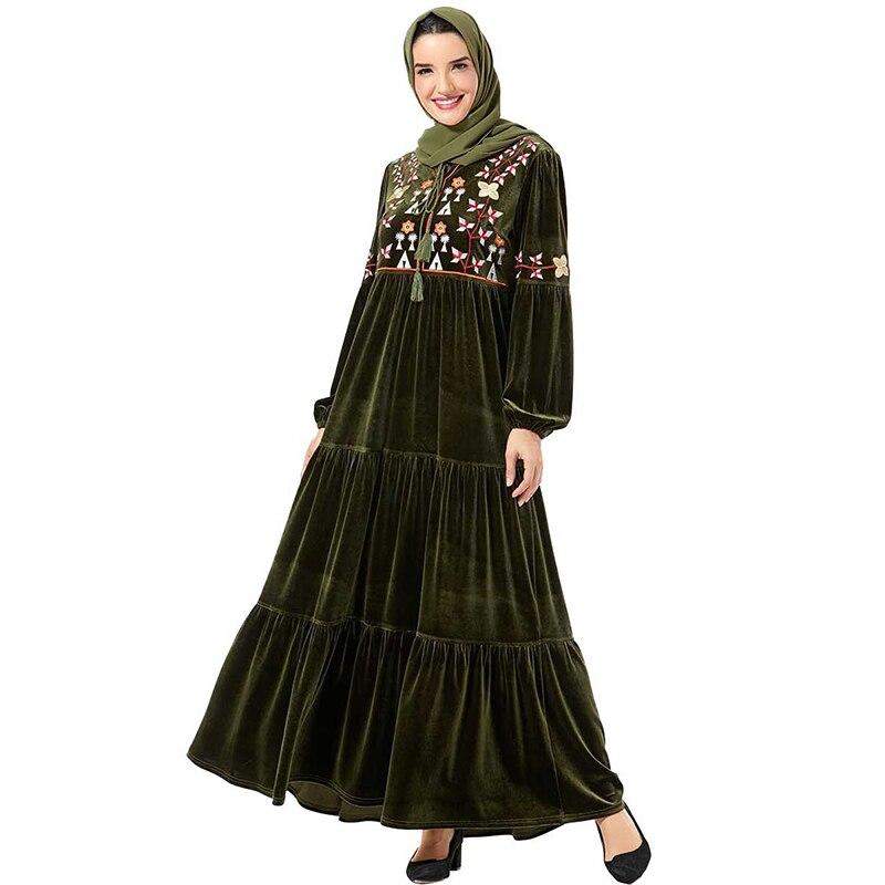 Jilbab Velvet Abaya Dubai Hijab Muslim Dress Kaftan Islamic Abayas For Women Tesettur Elbise Turkish Caftan Vestidos Musulmanes