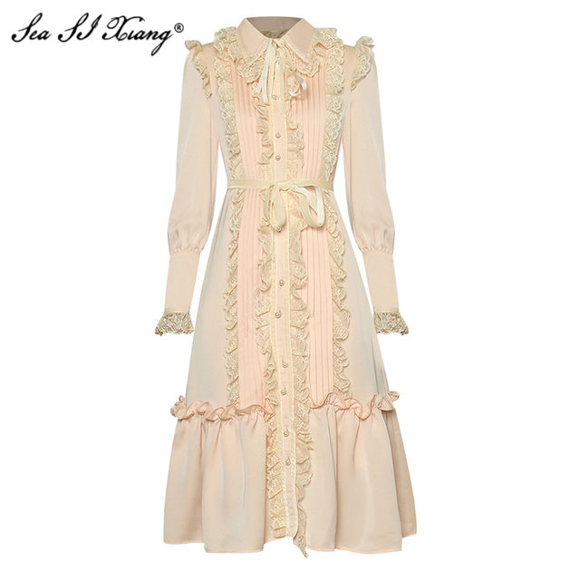 Seasixiang Fashion Designer Spring Dress Women's Lace-up Long Sleeve Lace Ruffles Vintage Floral-Print Dresses 3