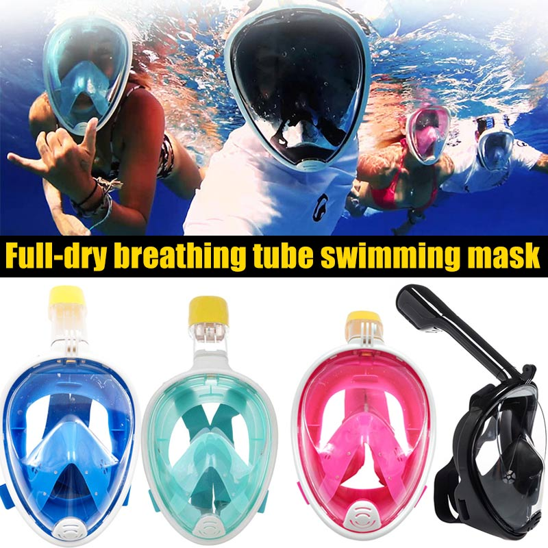 Diving Mask Foldable Detachable Silicone Anti Fog For Swimming Goggles Full Face Diving Mask Snorkeling Set Snorkel Tools
