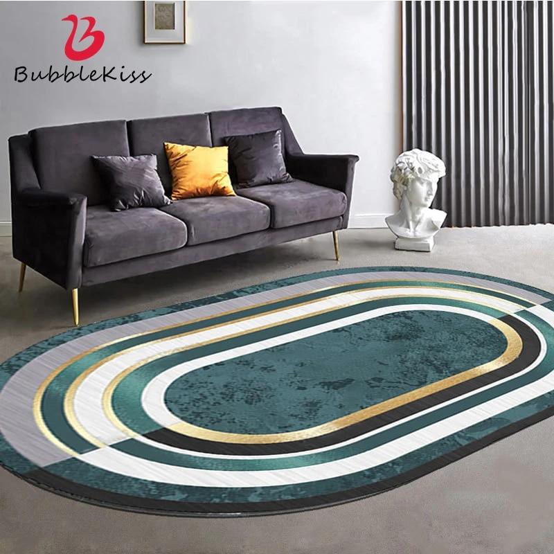 Bubble Kiss Oval Green Carpet Light Luxury Modern Geometric Area Rugs For Bedroom Living Room Decor Customized Large Floor Mat Carpet Aliexpress