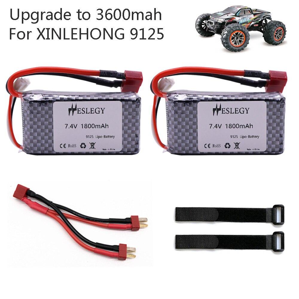 Upgrade To 3600mAh For XINLEHONG 9125 Remote Control Car Spare Parts 7.4V 1800mah 2S Lipo Battery XLH 9125 Battery 1600mah 7.4 V