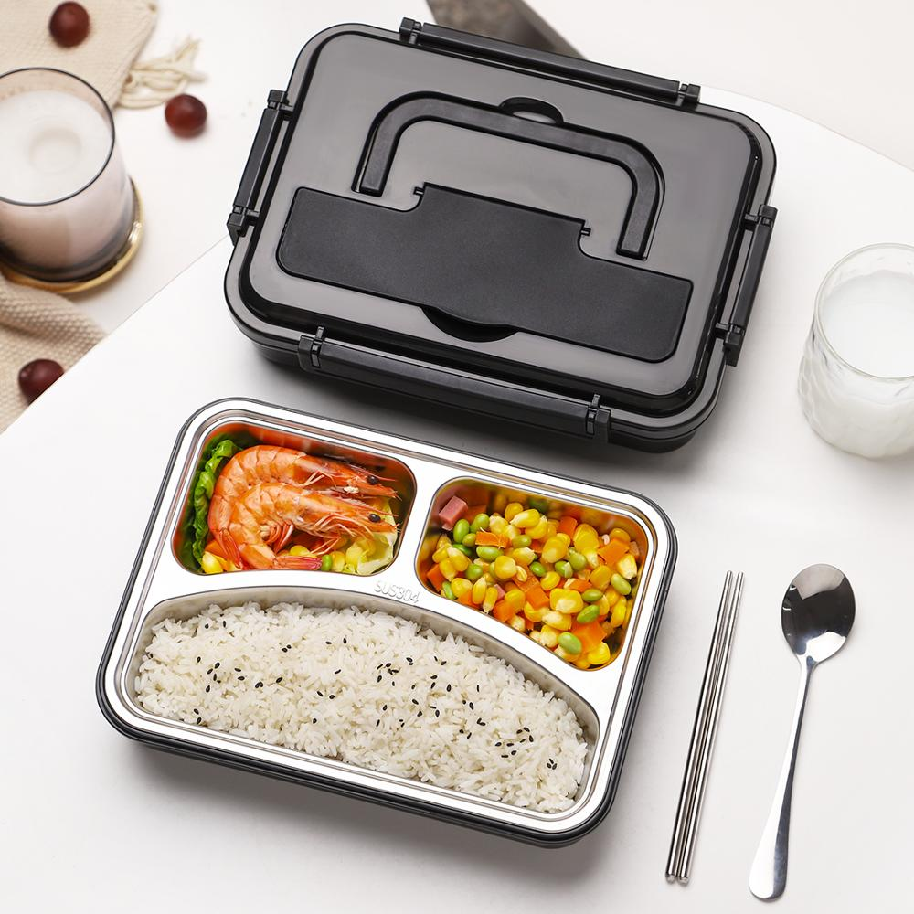 Lunch Box Containers with Compartments Portable Handle for Kids Stainless Steel Food Container Bag 1200ML