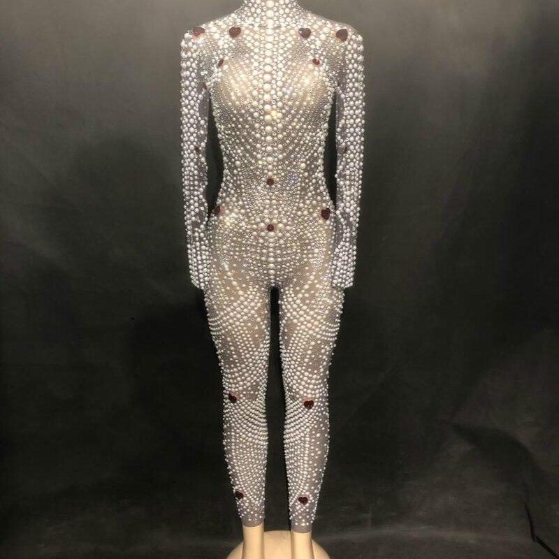 Sexy Bling Rhinestone Jumpsuit Sparkling Crystal Pearl Bodysuit Nightclub Party Female Singer Stage Wear Rompers Women Jumpsuit