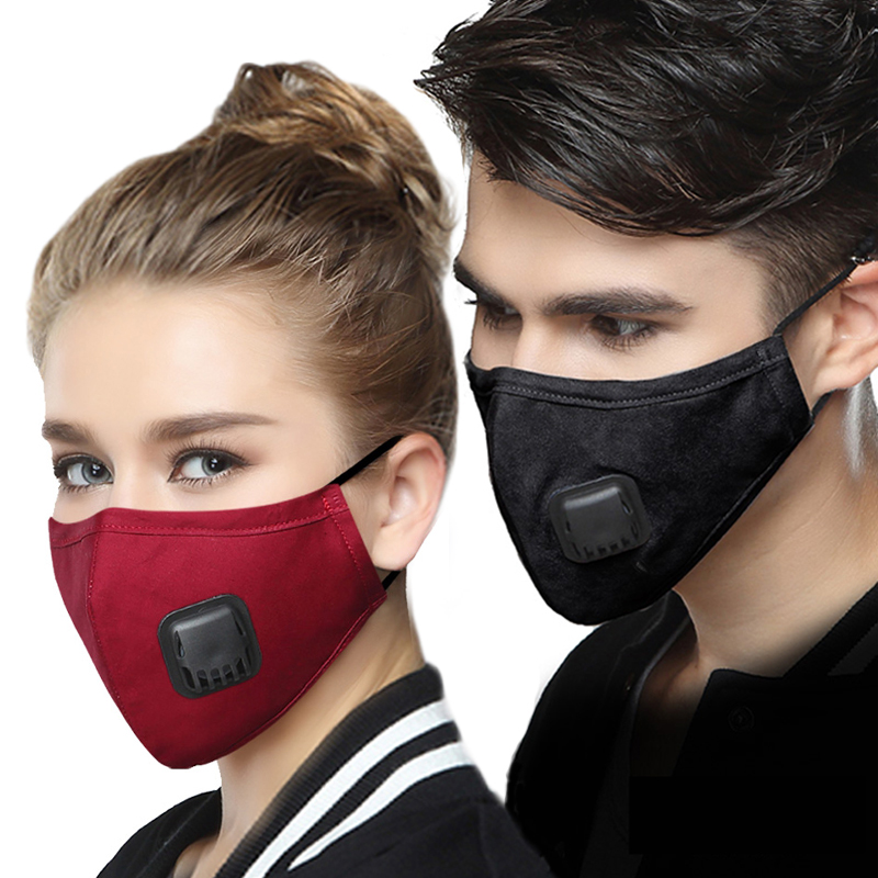 Unisex Anti Pollution PM2.5 Protective Mask Dust Respirator Washable Reusable Masks Cotton Face Mask For Women With 2PCS Filters